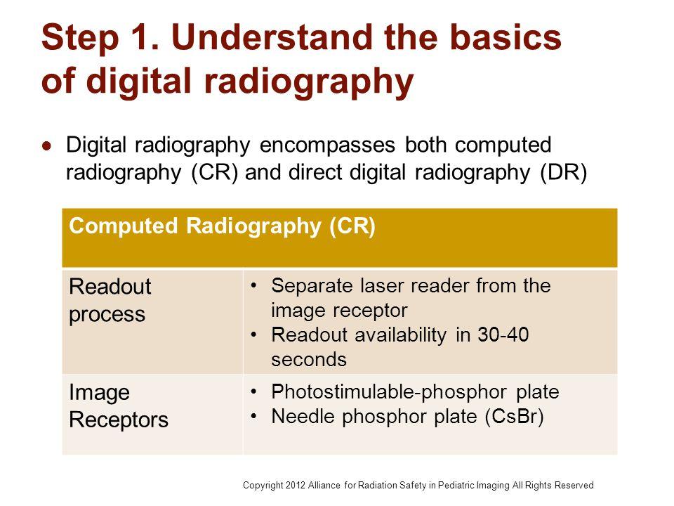 Step 1. Understand the basics of digital radiography Digital radiography encompasses both computed radiography (CR) and direct digital radiography (DR