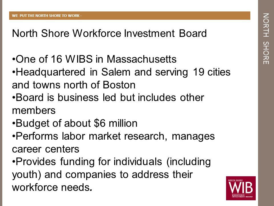 NORTH SHORE WE PUT THE NORTH SHORE TO WORK - North Shore Workforce Investment Board One of 16 WIBS in Massachusetts Headquartered in Salem and serving 19 cities and towns north of Boston Board is business led but includes other members Budget of about $6 million Performs labor market research, manages career centers Provides funding for individuals (including youth) and companies to address their workforce needs.