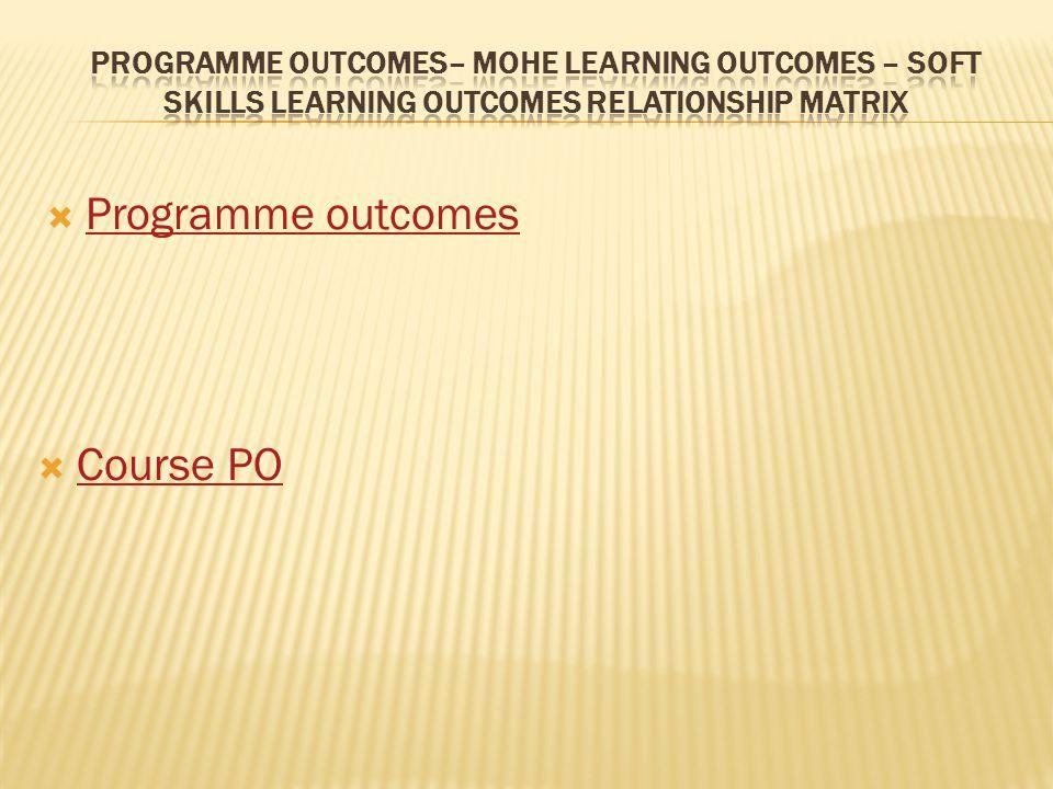  Programme outcomes Programme outcomes  Course PO Course PO