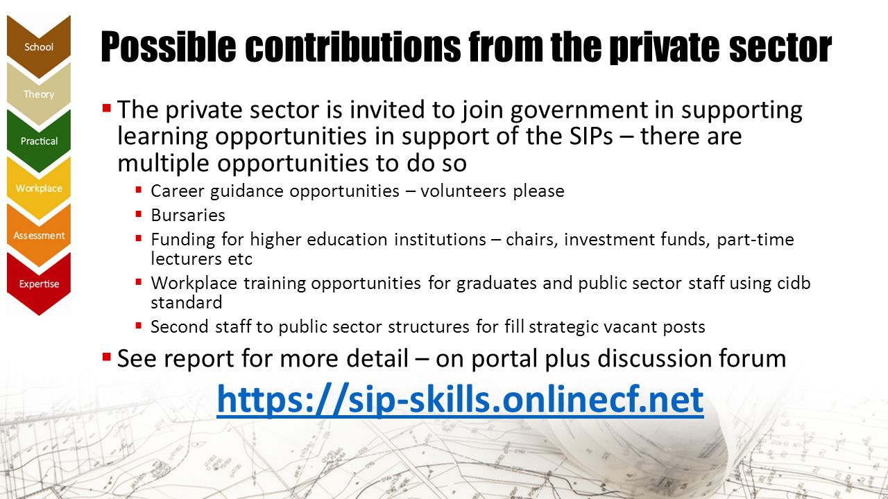 Possible contributions from the private sector  The private sector is invited to join government in supporting learning opportunities in support of t