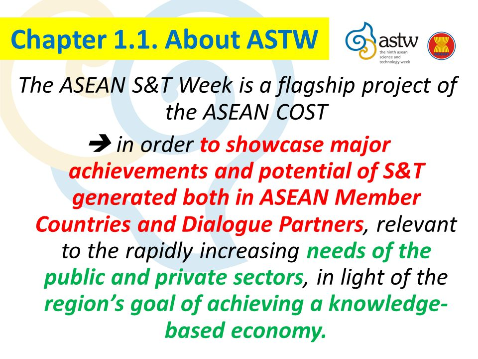 The ASTW is an important event of the ASEAN COST and it is conducted triennially on a rotational basis amongst ASEAN Member Countries; The ASTW has the main purpose of promoting of S&T Development in Southeast Asian Countries.