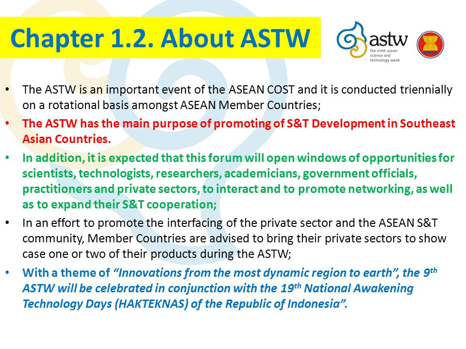 The ASTW is an important event of the ASEAN COST and it is conducted triennially on a rotational basis amongst ASEAN Member Countries; The ASTW has th