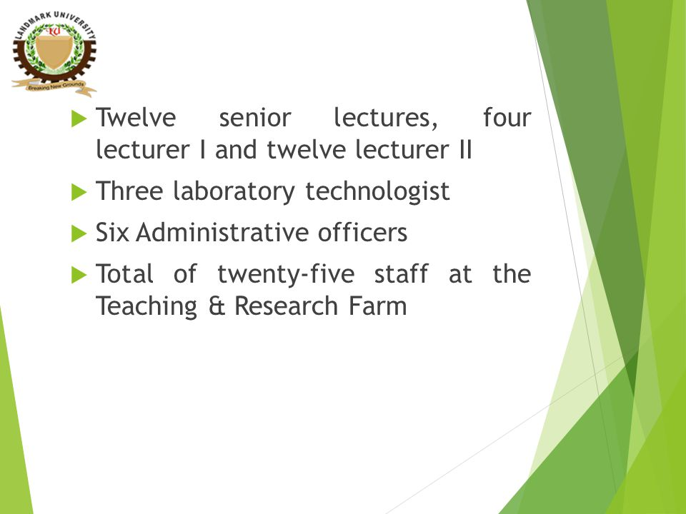  Twelve senior lectures, four lecturer I and twelve lecturer II  Three laboratory technologist  Six Administrative officers  Total of twenty-five