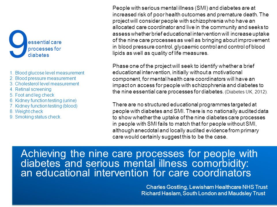 People with serious mental illness (SMI) and diabetes are at increased risk of poor health outcomes and premature death.
