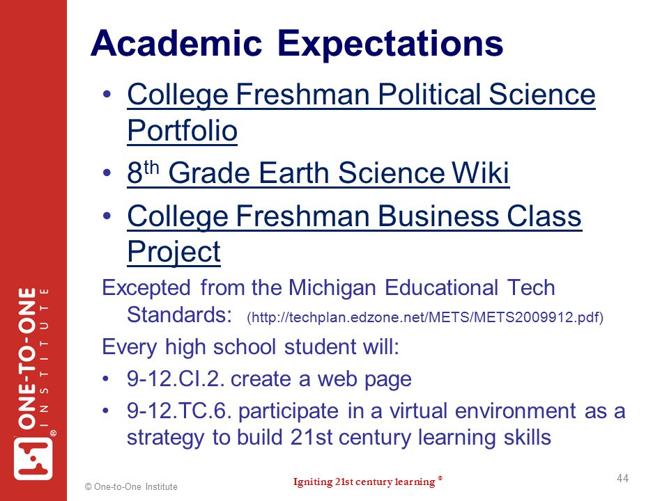 Igniting 21st century learning ® ® © One-to-One Institute Academic Expectations College Freshman Political Science PortfolioCollege Freshman Political