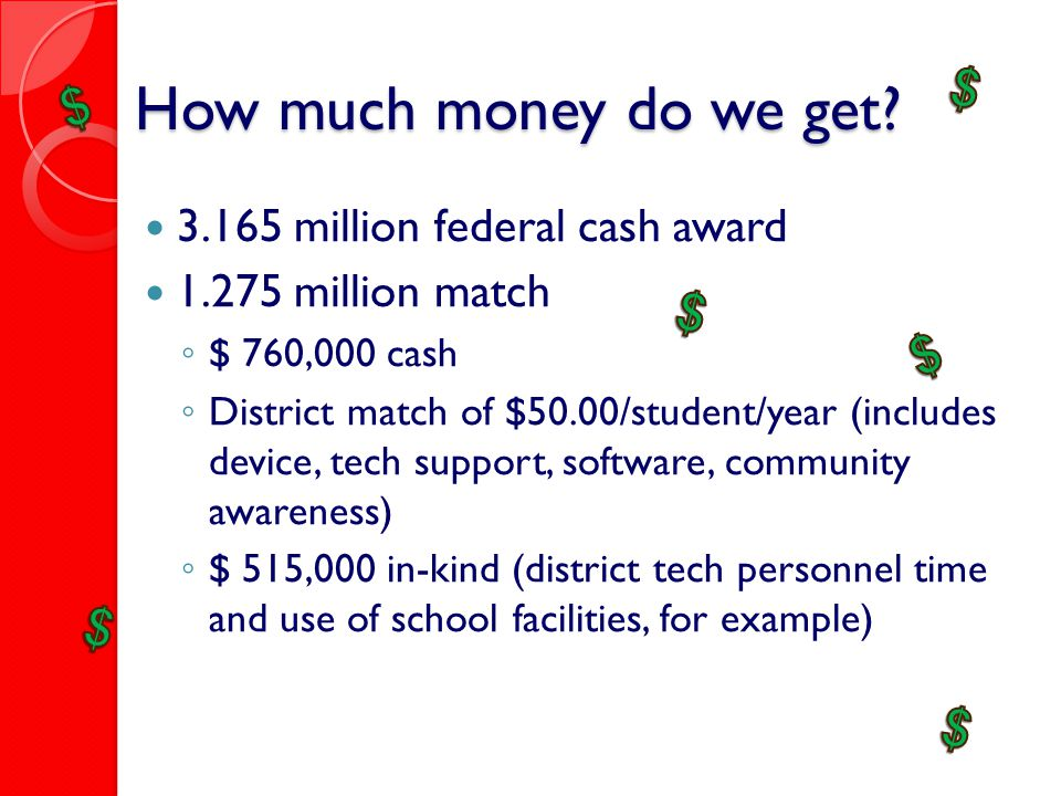 How much money do we get? 3.165 million federal cash award 1.275 million match ◦ $ 760,000 cash ◦ District match of $50.00/student/year (includes devi