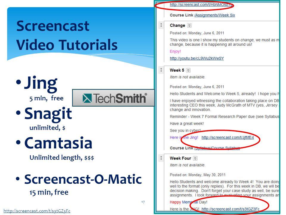 17 http://screencast.com/t/s3tGZ3Fc Screencast Video Tutorials Jing 5 min, free Snagit unlimited, $ Camtasia Unlimited length, $$$ Screencast-O-Matic 15 min, free
