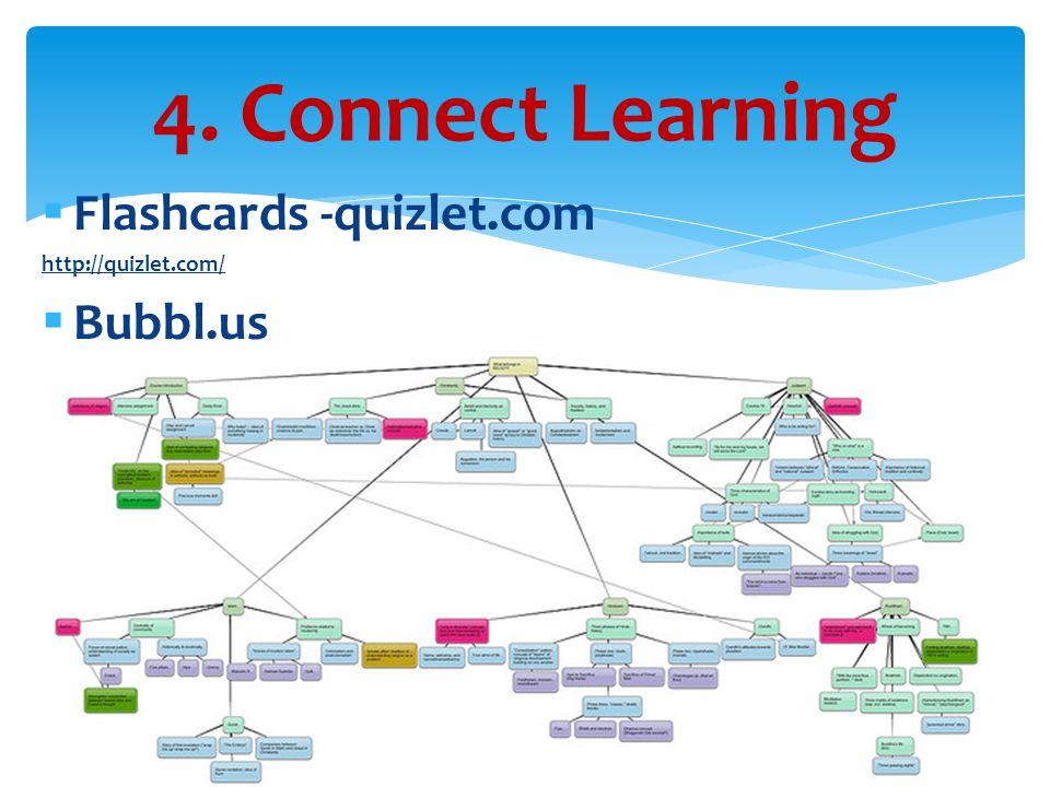  Flashcards -quizlet.com http://quizlet.com/  Bubbl.us 4. Connect Learning