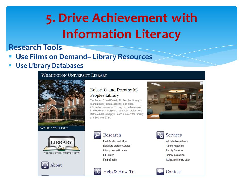 Research Tools  Use Films on Demand– Library Resources  Use Library Databases 5.