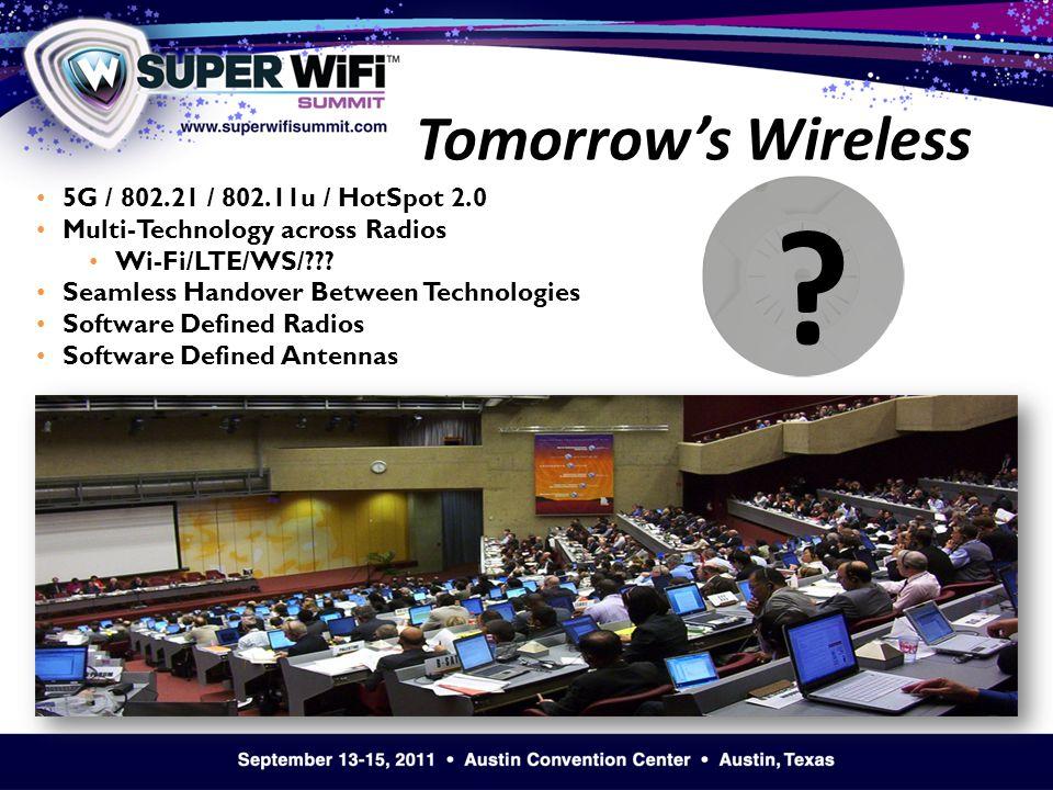 5G / 802.21 / 802.11u / HotSpot 2.0 Multi-Technology across Radios Wi-Fi/LTE/WS/ .