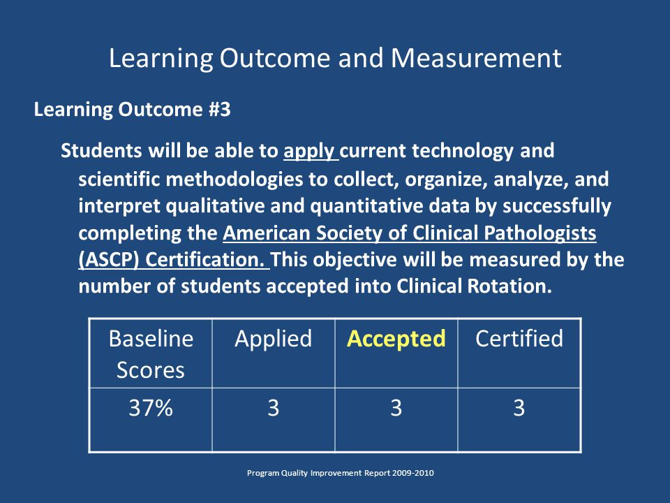 Learning Outcome and Measurement Learning Outcome #3 Students will be able to apply current technology and scientific methodologies to collect, organize, analyze, and interpret qualitative and quantitative data by successfully completing the American Society of Clinical Pathologists (ASCP) Certification.