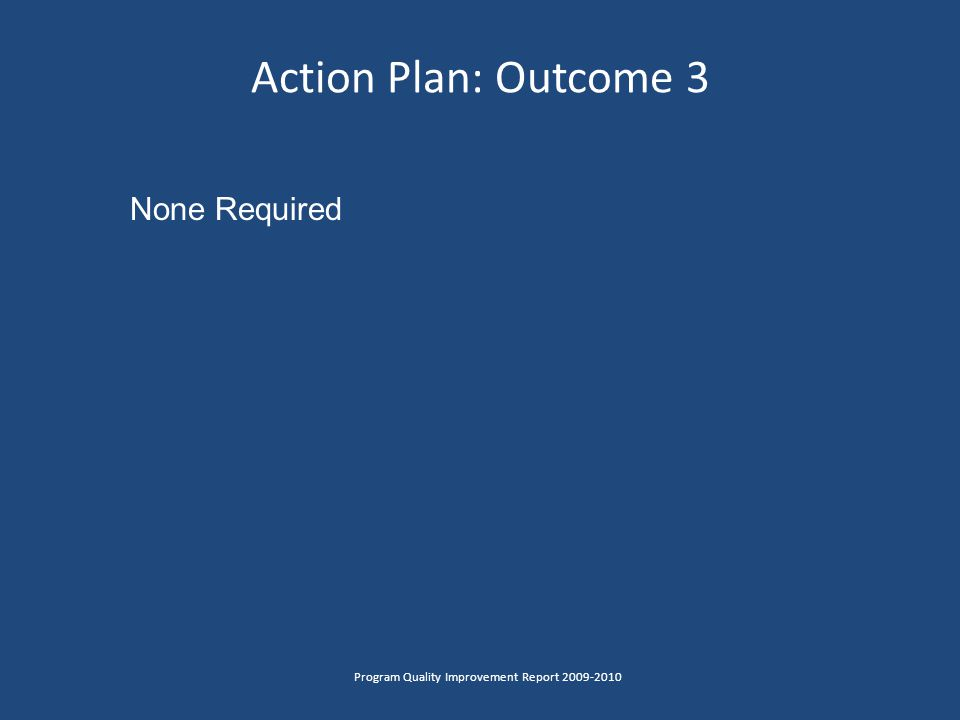 Action Plan: Outcome 3 Program Quality Improvement Report 2009-2010 None Required