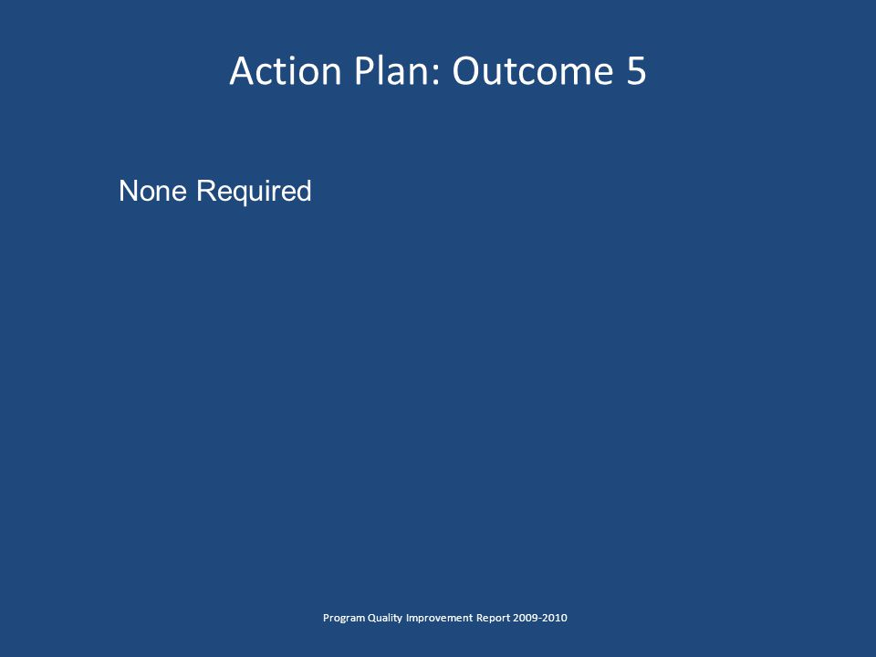 Action Plan: Outcome 5 Program Quality Improvement Report 2009-2010 None Required