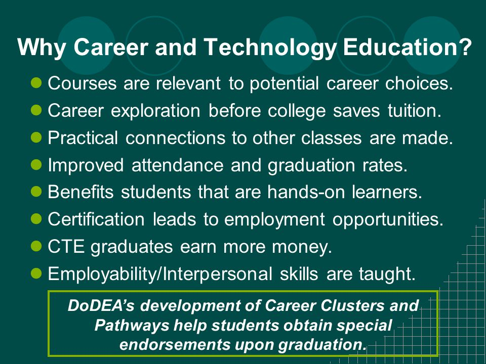 Why Career and Technology Education. Courses are relevant to potential career choices.