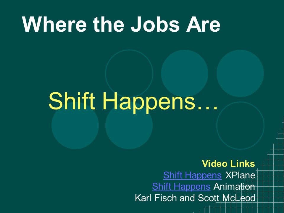 Where the Jobs Are Shift Happens… Video Links Shift HappensShift Happens XPlane Shift HappensShift Happens Animation Karl Fisch and Scott McLeod