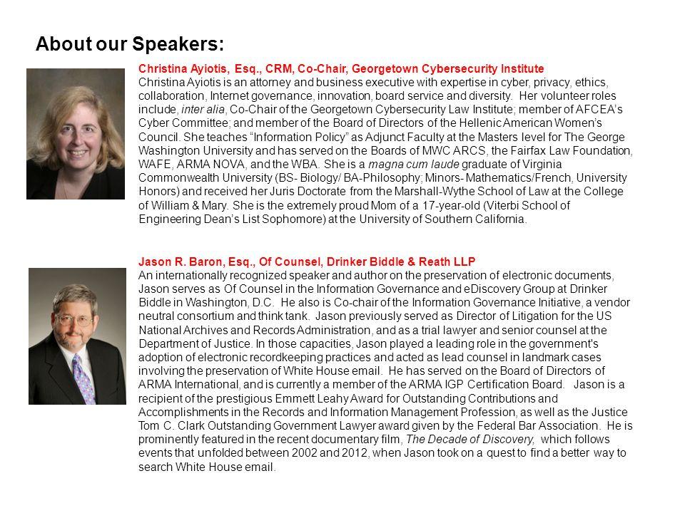 Eileen Carlson, Director, Information Governance, Baxter International Inc.