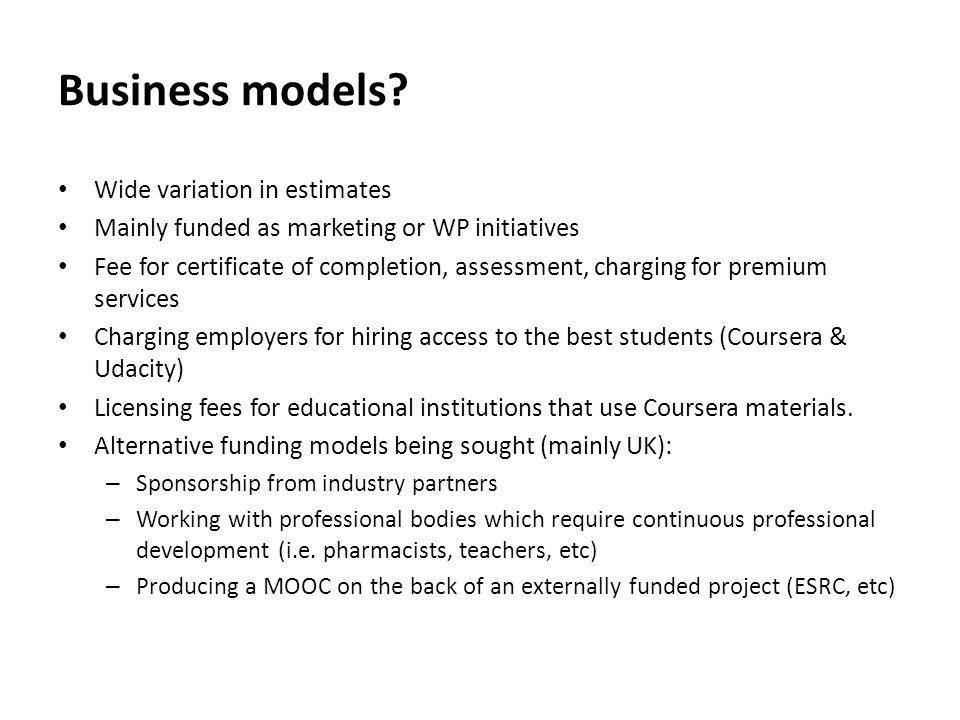Business models.