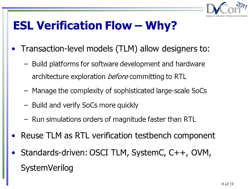 Transaction-level models (TLM) allow designers to: –Build platforms for software development and hardware architecture exploration before committing to RTL –Manage the complexity of sophisticated large-scale SoCs –Build and verify SoCs more quickly –Run simulations orders of magnitude faster than RTL Reuse TLM as RTL verification testbench component Standards-driven: OSCI TLM, SystemC, C++, OVM, SystemVerilog ESL Verification Flow – Why.