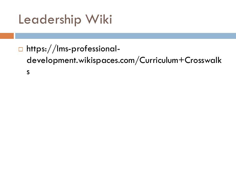 Leadership Wiki  https://lms-professional- development.wikispaces.com/Curriculum+Crosswalk s