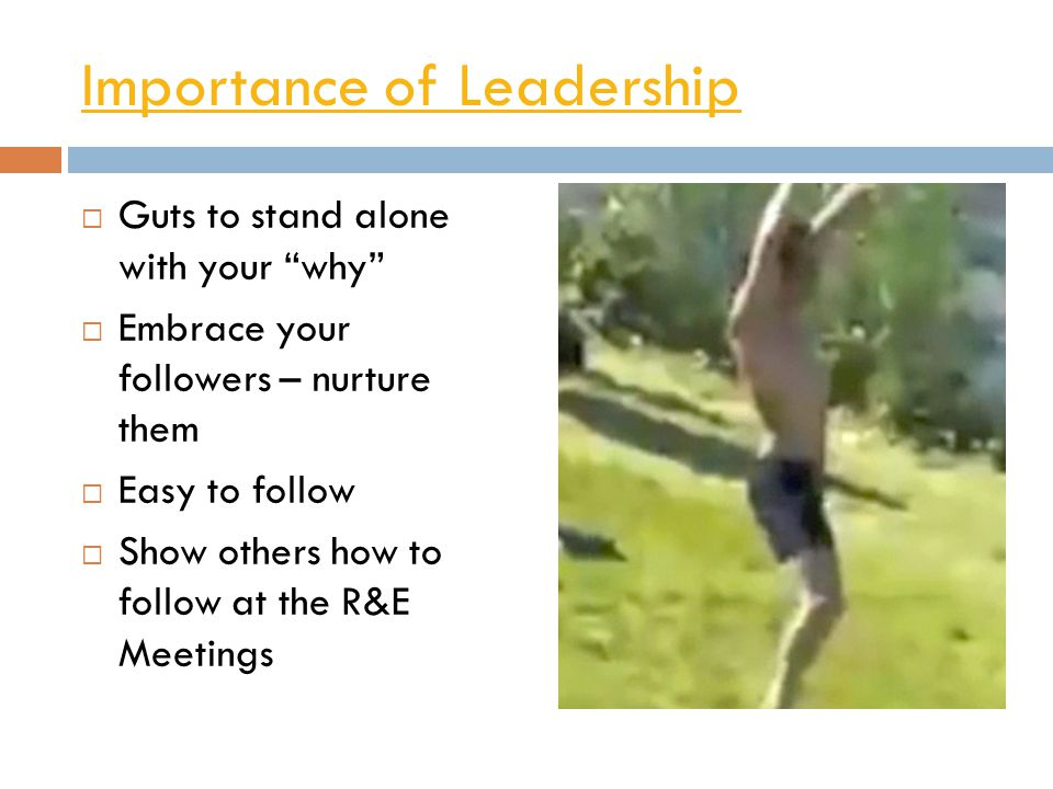 Importance of Leadership  Guts to stand alone with your why  Embrace your followers – nurture them  Easy to follow  Show others how to follow at the R&E Meetings