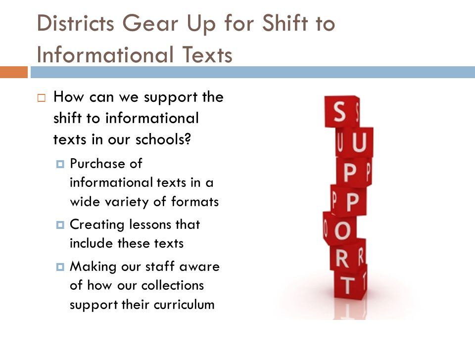 Districts Gear Up for Shift to Informational Texts  How can we support the shift to informational texts in our schools.