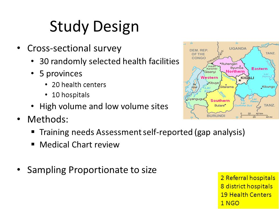 Study Design Cross-sectional survey 30 randomly selected health facilities 5 provinces 20 health centers 10 hospitals High volume and low volume sites