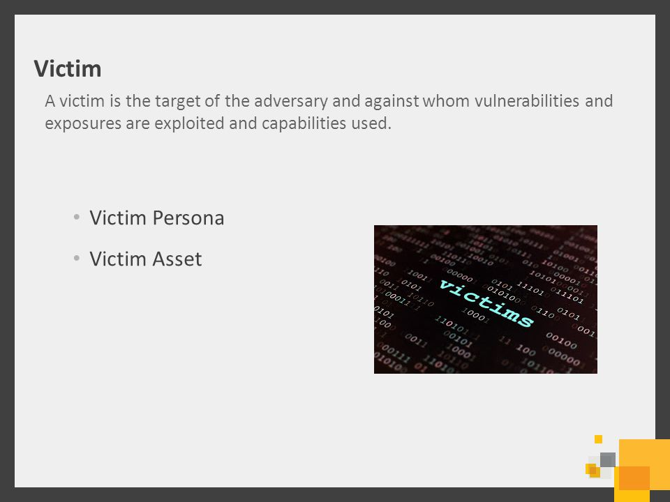 Victim Victim Persona Victim Asset A victim is the target of the adversary and against whom vulnerabilities and exposures are exploited and capabilities used.