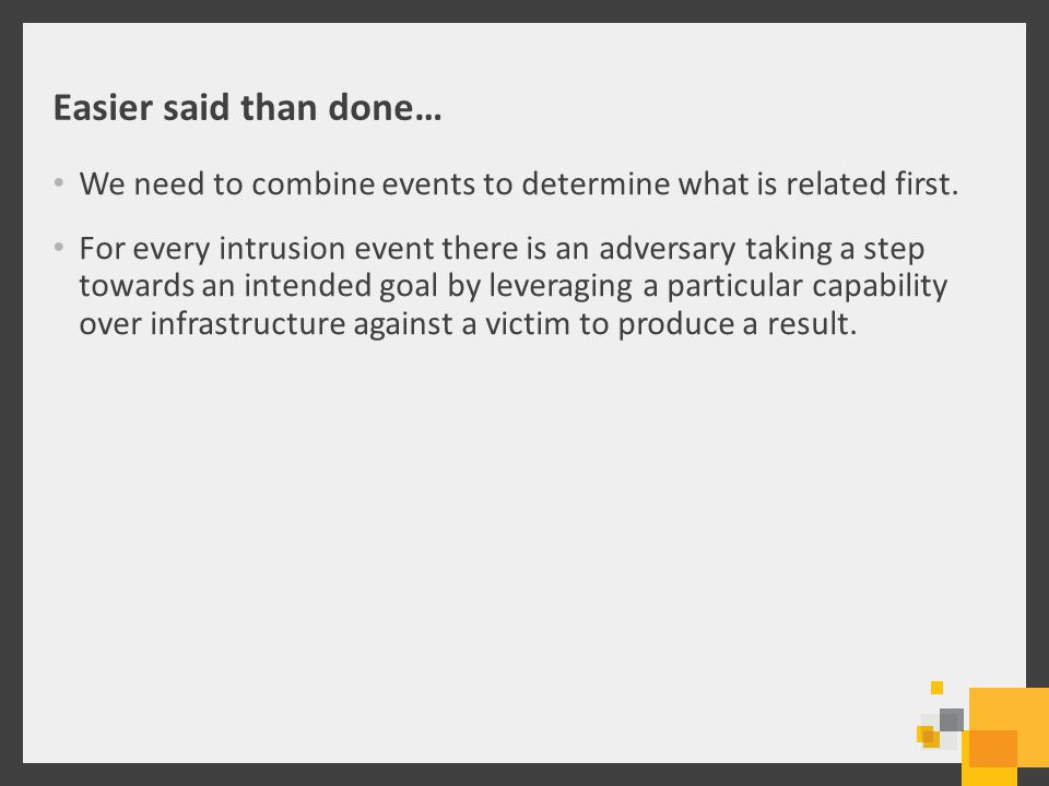 Easier said than done… We need to combine events to determine what is related first.