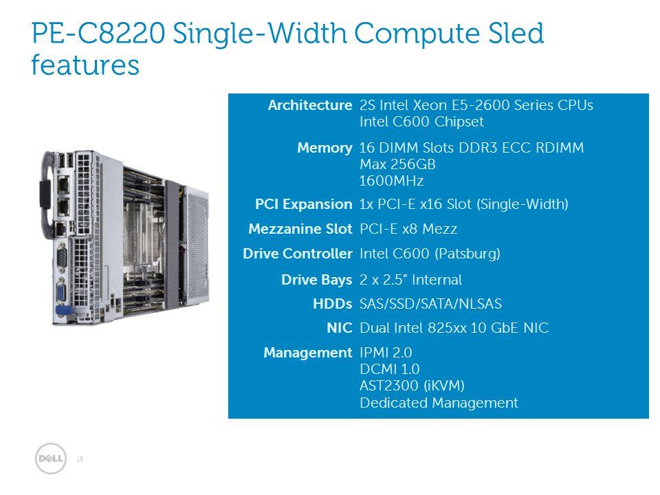 Architecture2S Intel Xeon E5-2600 Series CPUs Intel C600 Chipset Memory16 DIMM Slots DDR3 ECC RDIMM Max 256GB 1600MHz PCI Expansion1x PCI-E x16 Slot (
