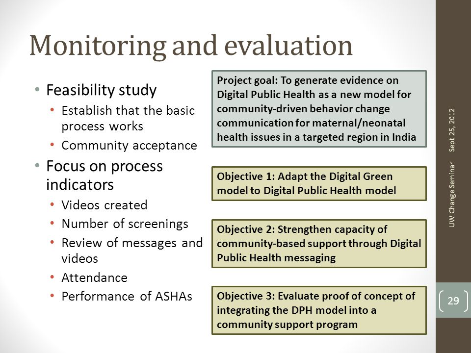 Monitoring and evaluation Feasibility study Establish that the basic process works Community acceptance Focus on process indicators Videos created Number of screenings Review of messages and videos Attendance Performance of ASHAs Sept 25, 2012 UW Change Seminar 29 Project goal: To generate evidence on Digital Public Health as a new model for community-driven behavior change communication for maternal/neonatal health issues in a targeted region in India Objective 1: Adapt the Digital Green model to Digital Public Health model Objective 2: Strengthen capacity of community-based support through Digital Public Health messaging Objective 3: Evaluate proof of concept of integrating the DPH model into a community support program