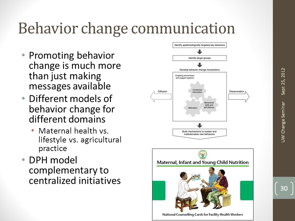 Behavior change communication Promoting behavior change is much more than just making messages available Different models of behavior change for different domains Maternal health vs.