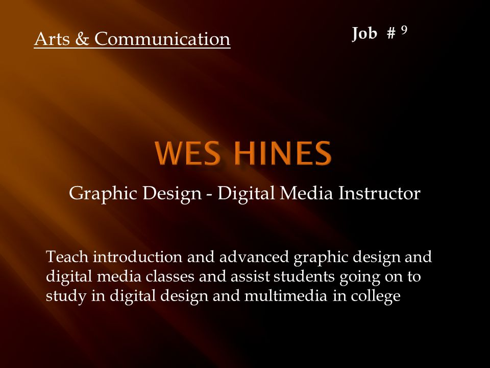 Graphic Design - Digital Media Instructor Teach introduction and advanced graphic design and digital media classes and assist students going on to stu