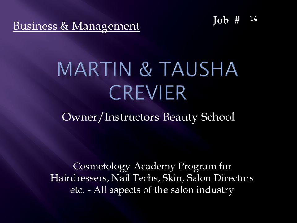 Owner/Instructors Beauty School Cosmetology Academy Program for Hairdressers, Nail Techs, Skin, Salon Directors etc. - All aspects of the salon indust