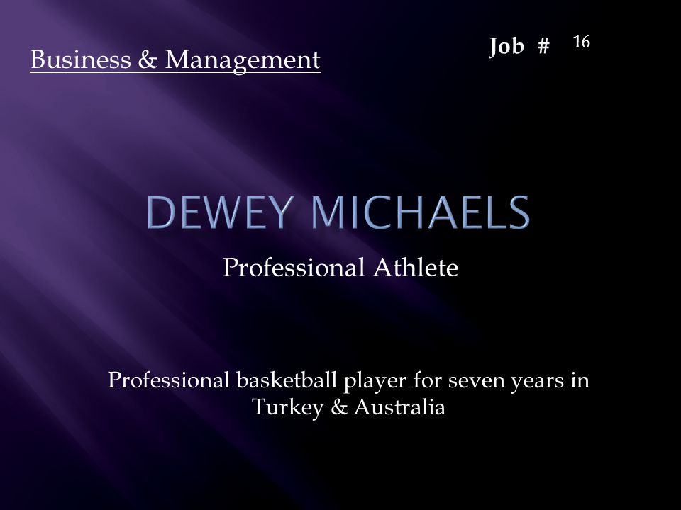 Professional Athlete Professional basketball player for seven years in Turkey & Australia Business & Management 16