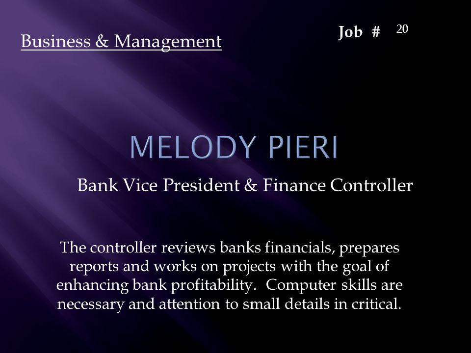 Bank Vice President & Finance Controller Business & Management 20 The controller reviews banks financials, prepares reports and works on projects with the goal of enhancing bank profitability.