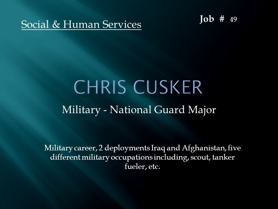 Military - National Guard Major Social & Human Services Military career, 2 deployments Iraq and Afghanistan, five different military occupations inclu