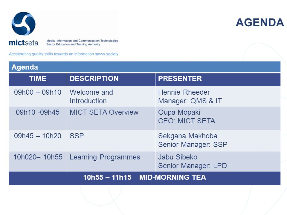 NSDS Target Target AGENDA Agenda TIMEDESCRIPTIONPRESENTER 09h00 – 09h10Welcome and Introduction Hennie Rheeder Manager: QMS & IT 09h10 -09h45MICT SETA OverviewOupa Mopaki CEO: MICT SETA 09h45 – 10h20SSPSekgana Makhoba Senior Manager: SSP 10h020– 10h55Learning ProgrammesJabu Sibeko Senior Manager: LPD 10h55 – 11h15 MID-MORNING TEA