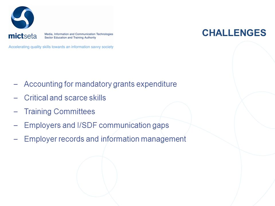 NSDS Target Target CHALLENGES – Accounting for mandatory grants expenditure – Critical and scarce skills – Training Committees – Employers and I/SDF communication gaps – Employer records and information management