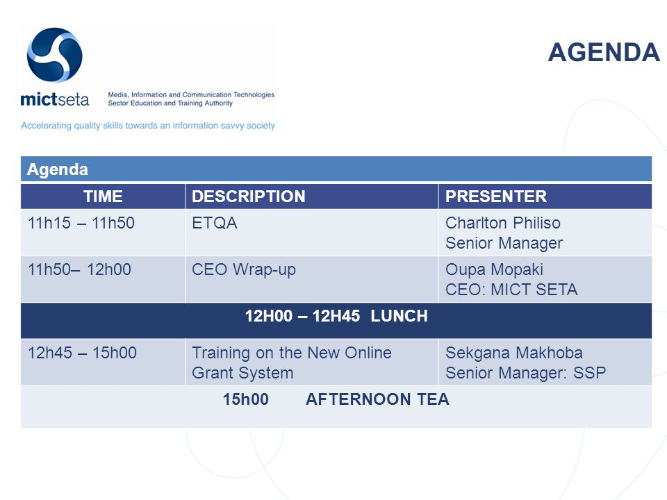 NSDS Target Target AGENDA Agenda TIMEDESCRIPTIONPRESENTER 11h15 – 11h50ETQACharlton Philiso Senior Manager 11h50– 12h00CEO Wrap-upOupa Mopaki CEO: MICT SETA 12H00 – 12H45 LUNCH 12h45 – 15h00Training on the New Online Grant System Sekgana Makhoba Senior Manager: SSP 15h00 AFTERNOON TEA