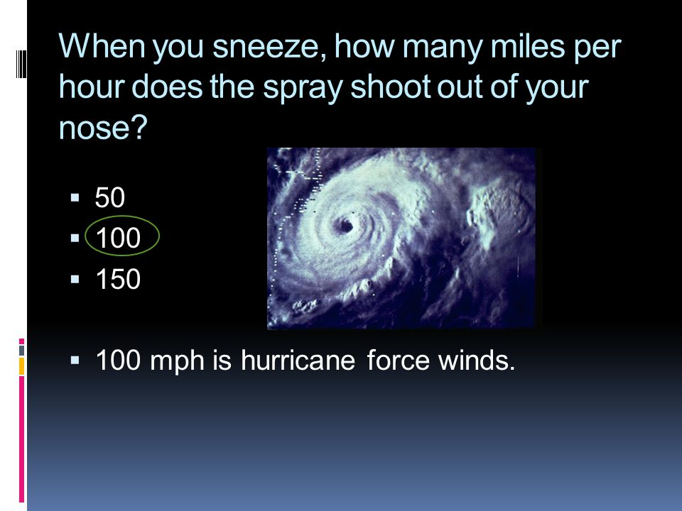 When you sneeze, how many miles per hour does the spray shoot out of your nose?  50  100  150  100 mph is hurricane force winds.