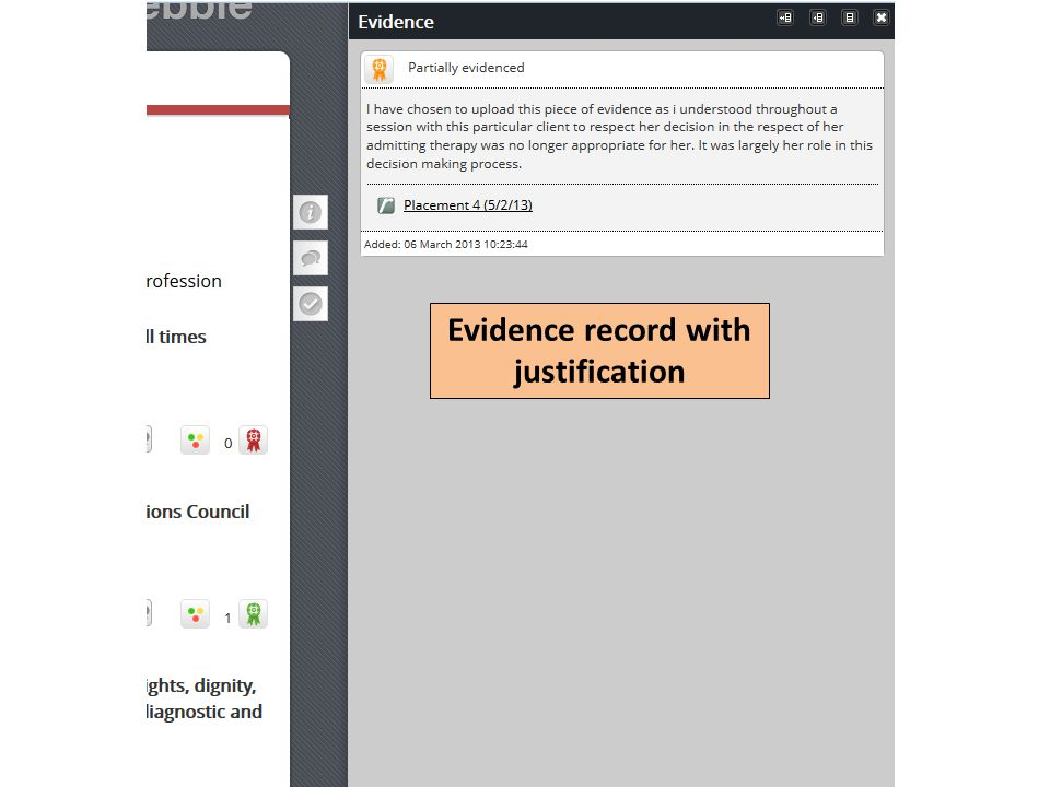 Evidence record with justification