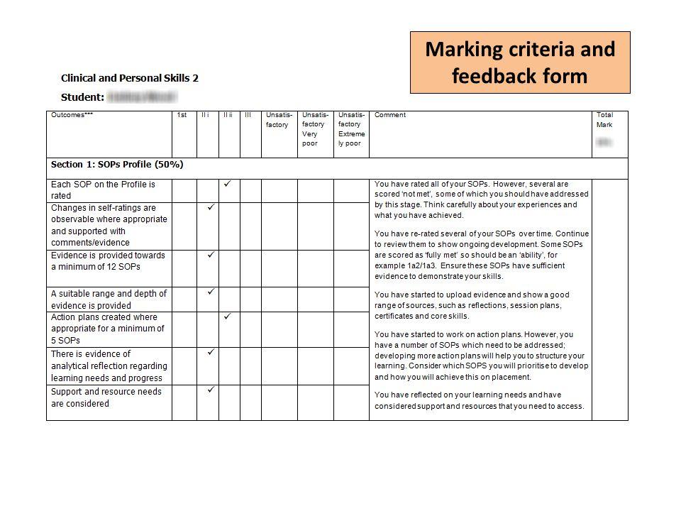 Marking criteria and feedback form