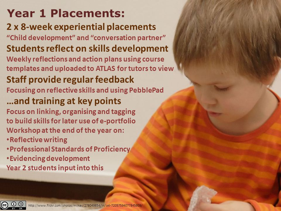 "Year 1 Placements: 2 x 8-week experiential placements ""Child development"" and ""conversation partner"" Students reflect on skills development Weekly ref"