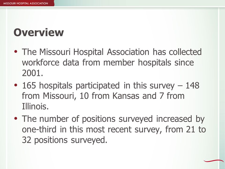 Overview  The Missouri Hospital Association has collected workforce data from member hospitals since 2001.  165 hospitals participated in this surve