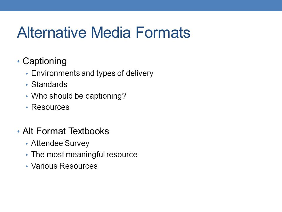 Alternative Format Resources Textbooks HTCTU Alternate MediaAlternate Media http://www.scoop.it/t/digital-book-news Alternative Text Resources - Boston University National Library Service for the Blind and Physically Handicapped (NLS) http://www.loc.gov/nls/index.html TN LBPH http://www.tennessee.gov/tsla/lbph/index.htmhttp://www.tennessee.gov/tsla/lbph/index.htm American Printing House for the Blind (APH) http://www.aph.org/ Bookshare https://www.bookshare.org/
