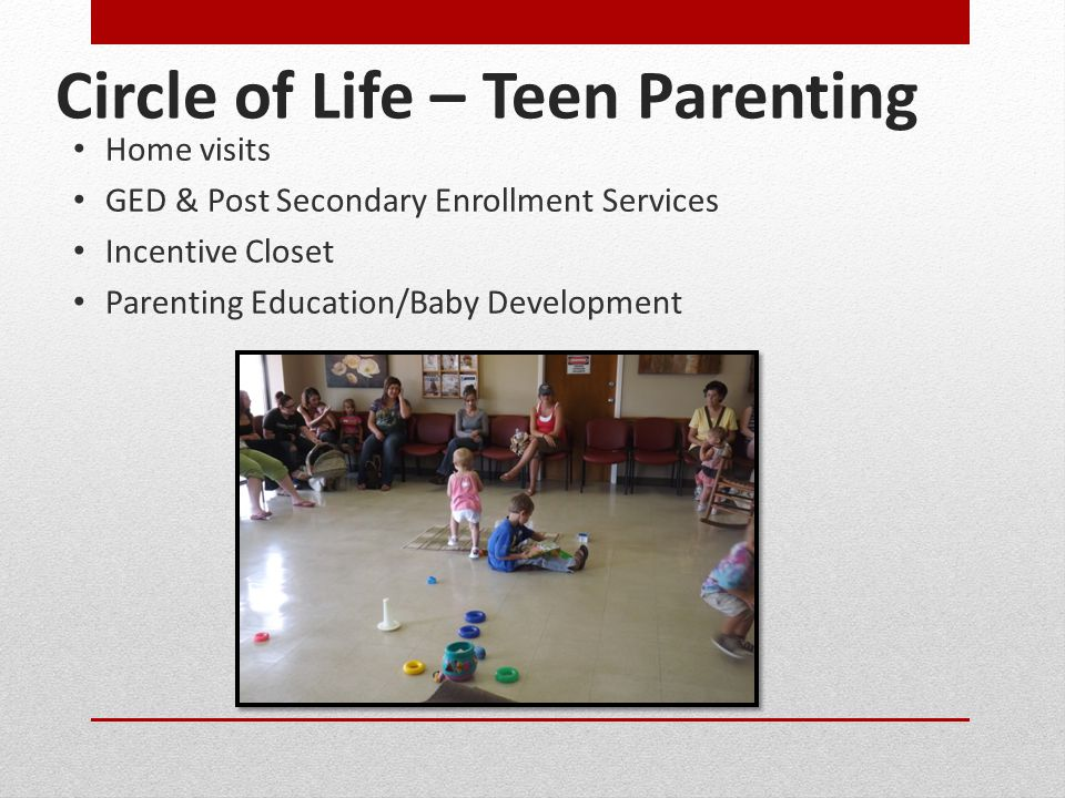 Circle of Life – Teen Parenting Home visits GED & Post Secondary Enrollment Services Incentive Closet Parenting Education/Baby Development
