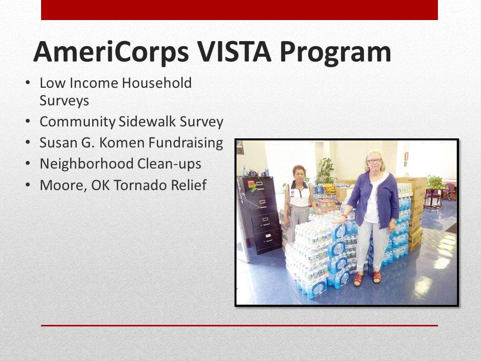AmeriCorps VISTA Program Low Income Household Surveys Community Sidewalk Survey Susan G.
