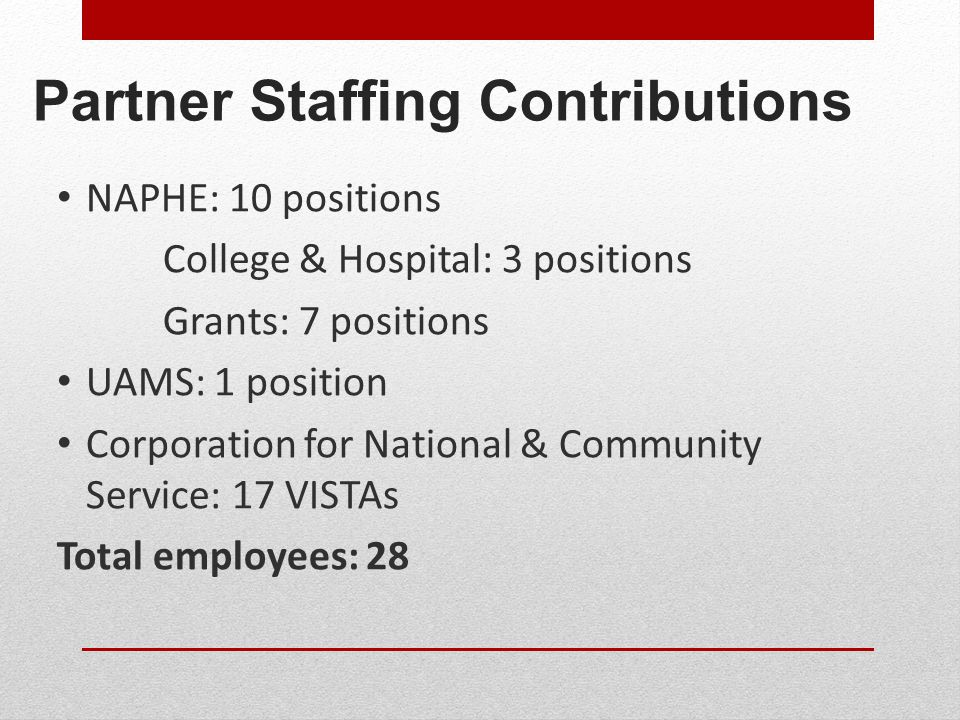 Partner Staffing Contributions NAPHE: 10 positions College & Hospital: 3 positions Grants: 7 positions UAMS: 1 position Corporation for National & Community Service: 17 VISTAs Total employees: 28