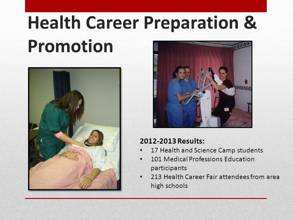 Health Career Preparation & Promotion 2012-2013 Results: 17 Health and Science Camp students 101 Medical Professions Education participants 213 Health Career Fair attendees from area high schools