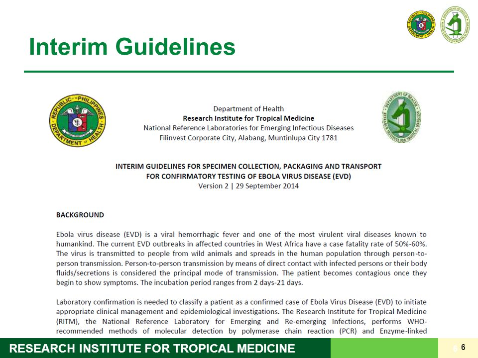 6 RESEARCH INSTITUTE FOR TROPICAL MEDICINE Interim Guidelines 6